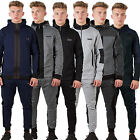 Mens Foray Tracksuit Fleece Poly Jersey Hooded Top Skinny Slim Fit Joggers Pants