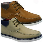 MENS FAUX LEATHER CASUAL WALKING BOAT DESERT ANKLE TRAINERS SHOES BOOTS SIZE