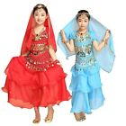 AU Childrens Girls Indian Belly Dance Dress Kids Show Suit Costume Stage Set