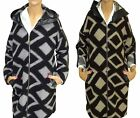 Womens Ladies Diamond Pattern Hooded Synthetic Leather Detail Zipped Coat Jacket