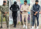 Mens Gym King Full Tracksuit Hooded Top & Skinny Slim Joggers Jogging Bottoms