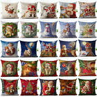 Happy Christmas Cotton Linen Pillow Case Sofa Cushion Cover Fashion Home Decor