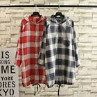 T417 Woman's Linen hoodie Long Check Blouse Shirt Loose coat cardigan Size 14-24 for sale  China