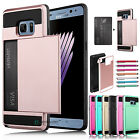 Slim Hybrid Rugged Armor Card Pocket Wallet Case Cover for Samsung Galaxy Note 7