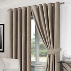 STYLISH LUXURY RINGTOP EYELET LINED PLAIN CHENILLE HEAVY THICK CURTAINS NATURAL