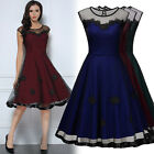 Women Vintage 1950s Cocktail Evening Party Lace Mesh Swing Wiggle A-Line Dresses