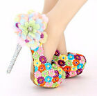 Sexy Crystal Colorful Flowers Round Toe Pumps Wedding Thin Heel High Heels Shoes