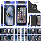 For Apple iPhone 7 Case Impact Dual Layer Grip Kickstand Defender Blue Cover