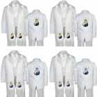 6pc Christening White Tuxedo Spanish English Color Silver Gold Pope Maria Stole