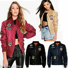 LADIES WOMENS MA1 COMBAT US BADGE ARMY AIRFORCE VINTAGE BOMBER BIKER JACKET COAT