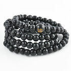 Unisex Lava Rock Beads Elastic Natural Stone Agate Bracelet Buddha Lion Bangle
