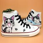 New Women Hand-painted Cute Cat Canvas Shoes Sweet Lace up Comfy Flats US5-10.5