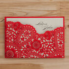 Red Lace Hollow  Personlize  Laser Cut Wedding Invitation Cards With Envelopes