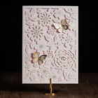 White Free Personlize Laser Cut Wedding Party Invitations With Gilding Butterfly