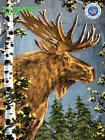 "ZooFleece Brown Moose Animal Antlers Camping Linen 50X60"" Blanket Throw Quilt  image"