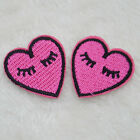 2pcs Unicorn Lip Gloss Heart Embroidered Iron Sew on DIY Applique Motif Patches