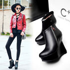 Europe trendy Womens ankle Boots real Leather zipper Wedge heels Platform Black