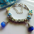 any name charm bracelet ABC letter block charms for children blue pink purpal