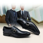2016New Men's Cow Leather Shoes Dress Formal Slip Ons Black Blue Size 5~11 37~44