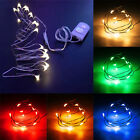 1M 10LED Copper Wire String Strip Lights For Cloth Christmas W/Battery Case