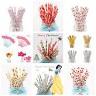 25Pcs Mixed Drink Paper Straws Birthday Party Supplies Theme Polka Baby Shower