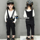 Autumn Girl Baby Child Baby Kids Long T-shirt+Stripe Rompers Trousers Sets 3-8Y