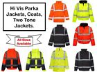High Visibility Hi Viz Parka Coat Two Tone Waterproof Security Safety New