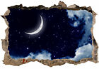 AMAZING MOON AND STARS WITH CLOUDS 3D SMASHED HOLE IN WALL EFFECT DECAL