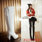 Hot Women's High Block Heel Platform Over Knee High Boots Shoes Pull On Size New