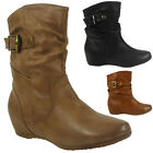 NEW WOMENS LADIES BUCKLE STRAP FLAT SLOUCH LOW HEEL WEDGE ANKLE BOOTS SHOES SIZE