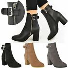 Womens Ladies Ankle Boots Block Mid High Heels Casual Chunky Winter Shoes Size