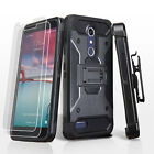 For ZTE Zmax Pro Z981 Hybrid Impact Armor Rugged Hard Case Cover Holster Screen