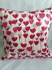 Cushion covers Made In Romo Tulipa Raspberry With Grey Stripe Reverse