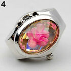 WOMEN'S FASHION RHINESTONE RING WATCH OVAL COVER MINI QUARTZ WATCH NICE