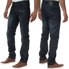 Mens Eto Jeans Tapered Fit Stylish Designer Engineered Black Denim Pants Slim