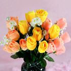"18 / 27 silk Roses buds bushes Yellow Pink orange wedding flowers 13-3/4"" long"