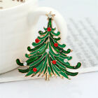 New Women Gold Plated Christmas Crystal Bowknot Tree Charm Brooch Pin