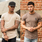 Mens Gym King Short Sleeve T Shirt Designer Jersey Longline Slim Fitted Tee Top