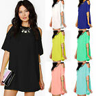 Womens Lady Summer Party Chiffon Solid Tops Dress Clothes Plus Size Off Shoulder