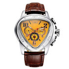 JARAGAR Mens Self-winding Mechanical Automatic Triangle Dial Leather Wrist Watch