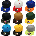 NEW! Quality Two Tone Flat Bill Snapback Hat 100% Cotton Adjustable Baseball Cap