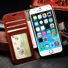 Leather Wallet Case Cover For Huawei Samsung S6 S7 S8 Edge iPhone 4 5C 5S 6 Plus