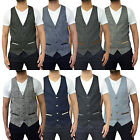Mens Marc Darcy Tweed Herringbone Waistcoat Designer Tailored Fit Formal Dressy