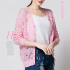 Women Fashion Sweater Three Quarter Sleeve Button Lace Hollow Outwear Knit Top