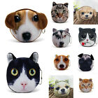 New 3D Cat/Dog Face Zipper Case Coin Kids Purse Wallet Makeup Bag Pouch