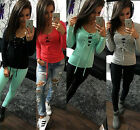 Fashion Sexy Womens Long Sleeve Shirt Casual Blouse Loose Lace Up Tops T Shirt