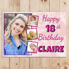 Personalised 18th 21st 30th 40th 50th Happy Birthday PHOTO Poster Banner N93