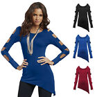 Women's Sexy Fashion Polyester Crew Neck Tops Long Sleeve T-Shirt Casual Blouse