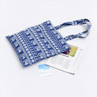 Cotton Linen with Lining Shopping Tote Carrying Bag Blue Line Elephant PP08 S#