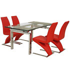 Chrome & Clear Glass Extending Dining Table and Chair Set with 4 Leather Seats